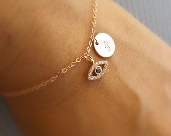 Rose gold evil eye bracelet-Initial and evil eye bracelet, rose gold gold plated evil eye jewelry, initial bracelet, bridesmaid gift