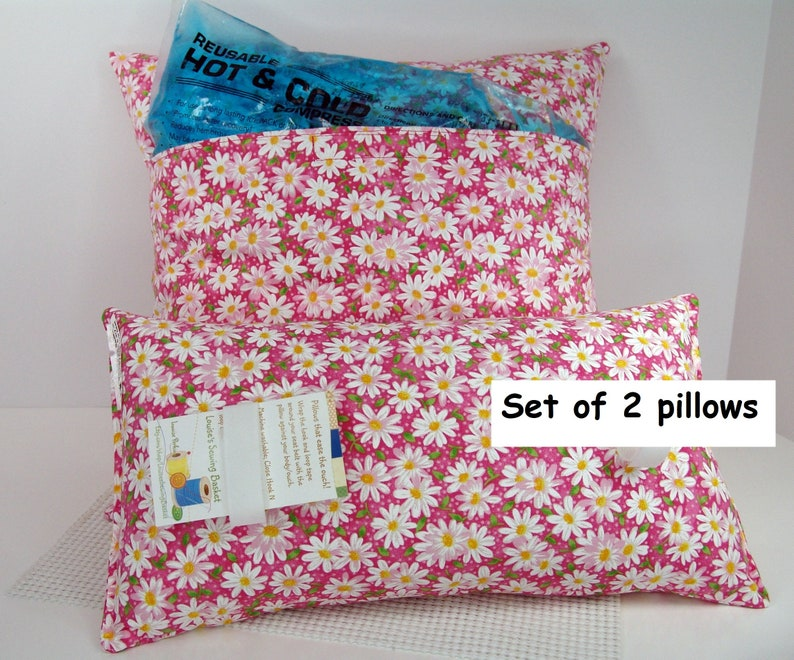 Hysterectomy pocket pillow gift set Cold Hot pack pocket daisies on pink