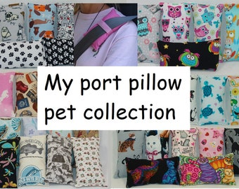chemo port pillow, Pacemaker, mediport, seat belt pillow, cushion, Chemo Port, cats, dogs, owls, pets, rabbits, Frogs, sloths, flamingos