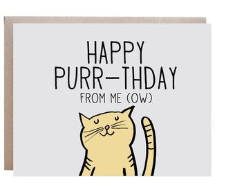 Cat Birthday Card Happy From The