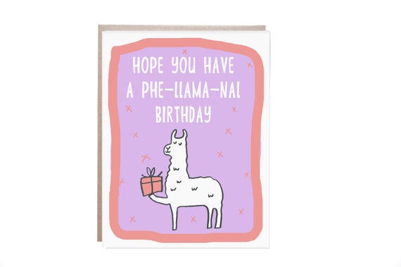 Birthday Card Llama Happy Birthday Llama Card Funny Birthday Card
