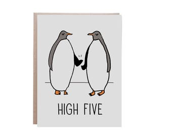 High Five, Graduation Card, , Congratulations Graduation, Penguins, Penguin Card