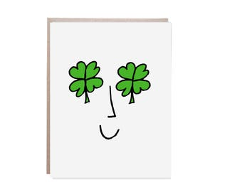 Saint Patricks Day Card, St. Patty's Day, Four Leaf Clover, Lucky Card, Shamrock Card