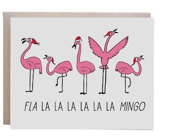 Christmas Card, Fa la la la la, Funny Christmas Card, Flamingo Christmas Card, Flamingo, Deck the Halls