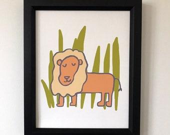 Lion Print, Animal Print, Jungle Print, Lion, Baby Wall Art, Nursery Art