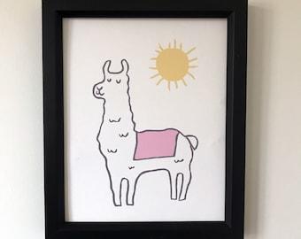 Llama print, Llama Art, Llama, Animal Print, Baby Wall Art, Nursery Art