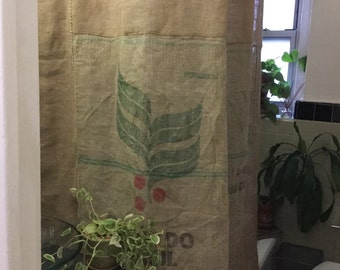 Recycled Primitive Coffee Beans Bag Picture Frame Shower Curtain Farmhouse Country Rustic With Ruffle Bottom