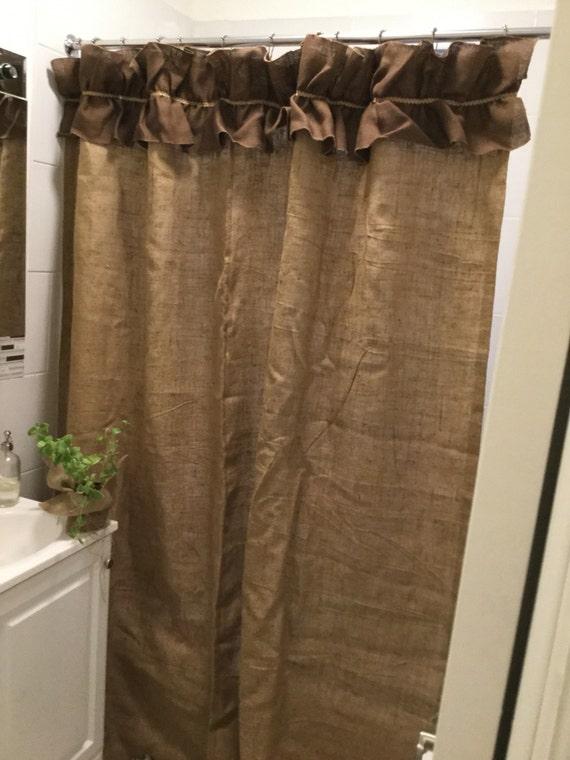 Natural Burlap Shower Curtain With Dark Brown Ruffle