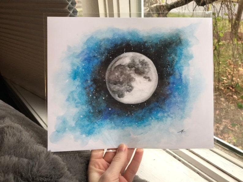 Print 8x10 Moon Watercolor Painting