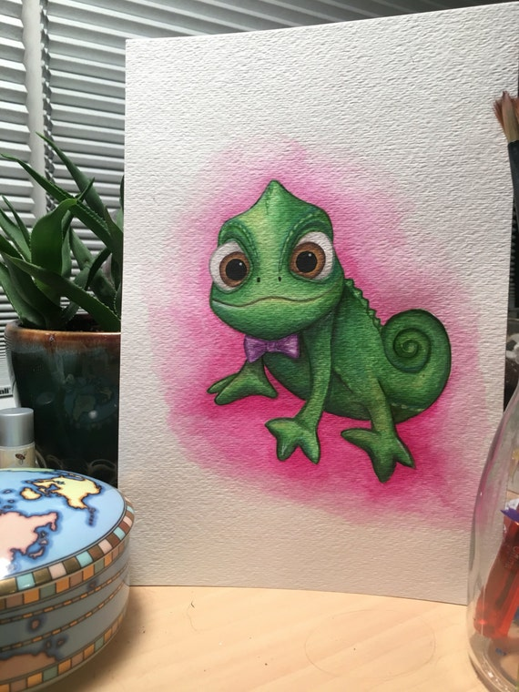 Tangled Pascal Chameleon Watercolor Painting Prints Etsy