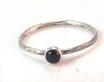 Black Onyx Ring, Narrow Ring, Onyx Ring, Onyx stacking ring, SIlver Stacking Ring, Handmade onyx ring, Narrow Stacking Ring