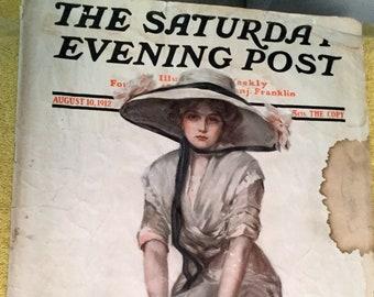 Vintage Saturday Evening Post Magazine, August 10, 1912
