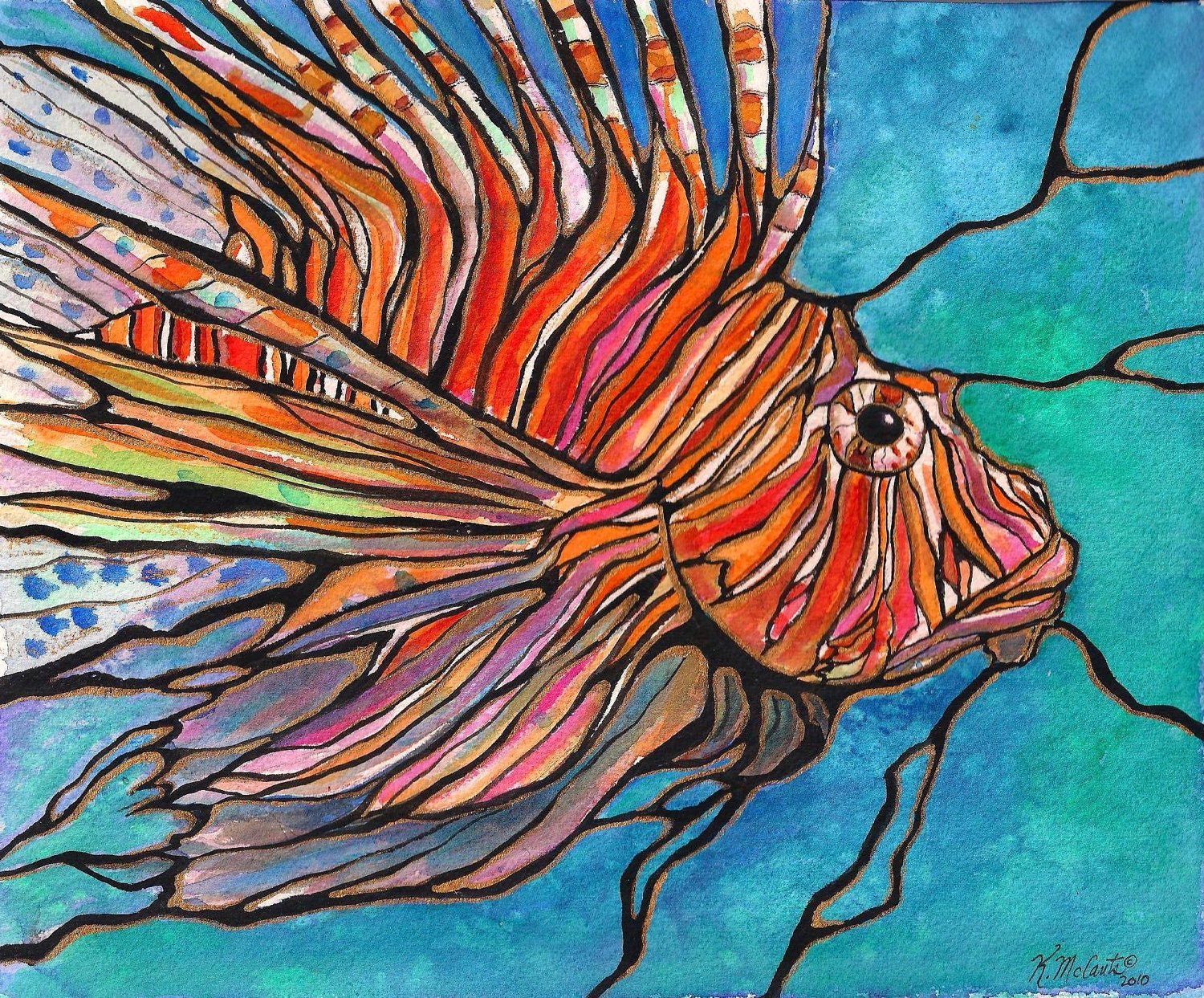 Colorful LIONFISH Tropical Fish Coral Reef Art
