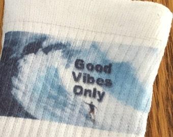 Good Vibes Only Socks - Hand Printed Men's or Unisex Crew Socks - Performance sport socks with moisture control - Surfer socks - Cool Socks