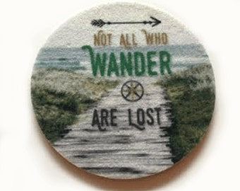 Set of two super absorbent car coasters for your car cup holder - Wine Coasters - Car Coasters  - Not all who wander are lost coasters
