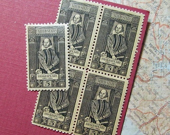 Ten 5c William Shakespeare .. Vintage Unused US Postage Stamp .. English Theatre, The Bard, Hamlet, Romeo and Juliet, Macbeth