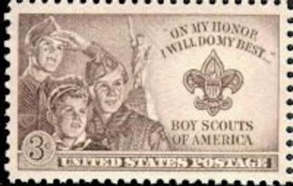 Vintage Unused US Postage Stamp 3c BOY SCOUTS issued 1950 .. Pack of 10