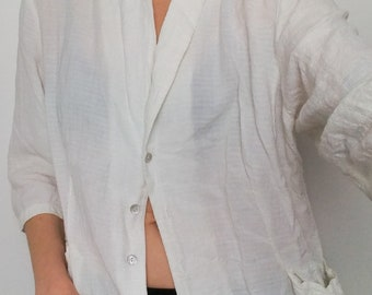 63cdd6a5 White Eileen Fisher Top Blouse Jacket