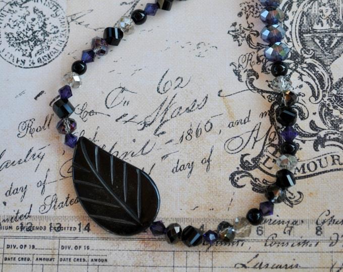 Black Onyx Leaf Necklace Set, Black and Purple crystal necklace, elegant necklace
