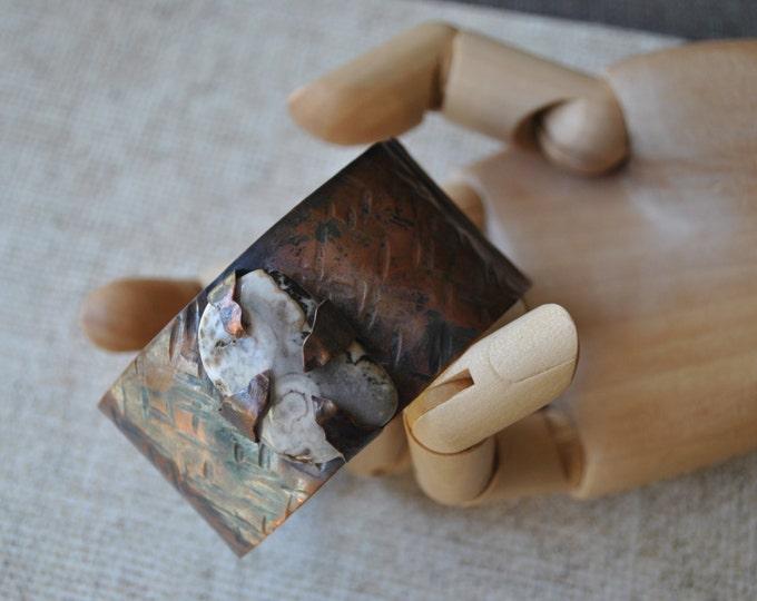 Brazilian agate stone copper cuff,  rustic copper bracelet, metal work, boho, unisex
