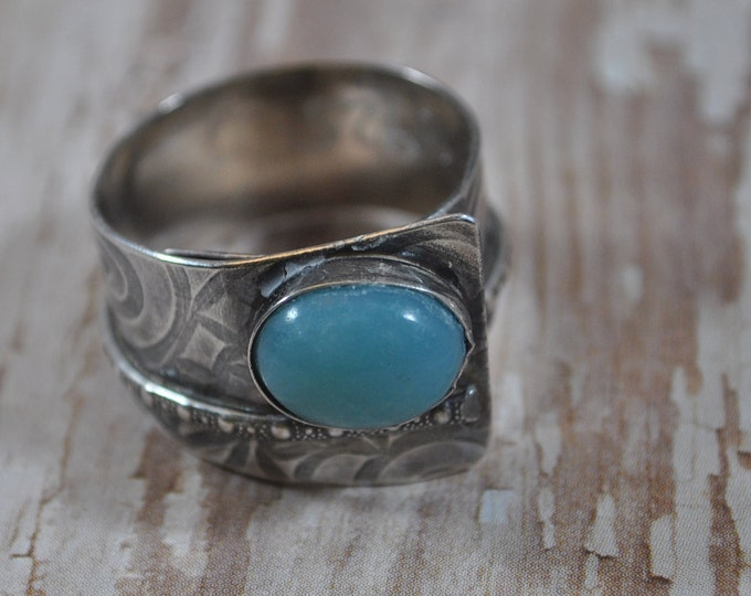 Sterling silver and blue Amazonite adjustable ring, textured metal, boho, wide band, floral design, sterling jewelry, handcrafted