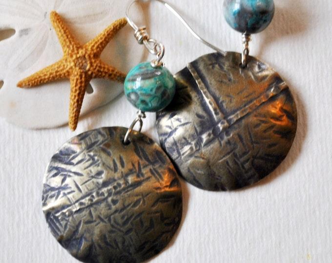 Silver nickel metal earrings, hammered metal earrings, rustic earrings, artisan earrings