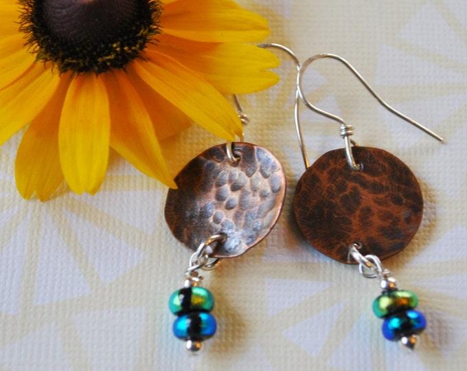 Round Copper earrings with blue and green dangles,  metal earrings, rustic earrings, artisan earrings