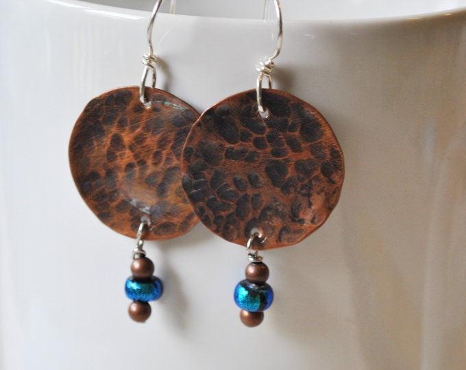 Round Copper earrings with blue and brown dangles,  metal earrings, rustic earrings, artisan earrings