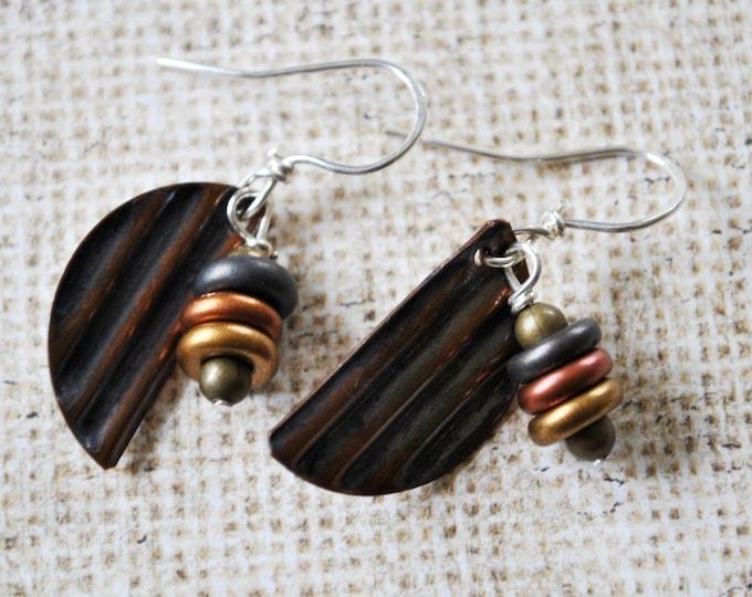 Corrugated Copper dangling earrings,  metal earrings, rustic earrings, artisan earrings