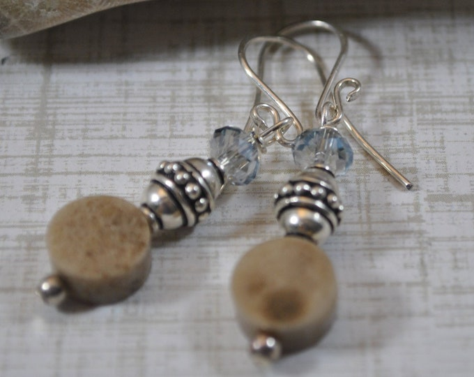 Petoskey stone earrings with blue crystals and Bali sterling silver beads, Up North Michigan, Lake Michigan, sterling earrings