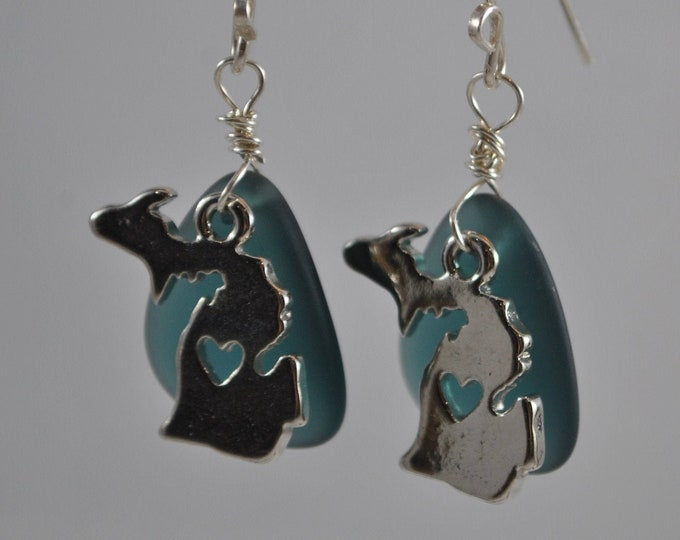 Michigan charm and beach glass earrings,  Michigan state, dark blue