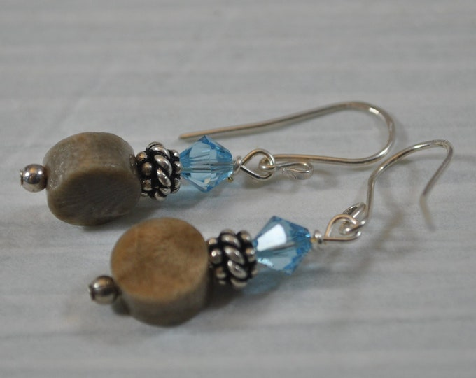 Petoskey stone earrings with blue crystals, Up North Michigan, Lake Michigan, sterling earrings