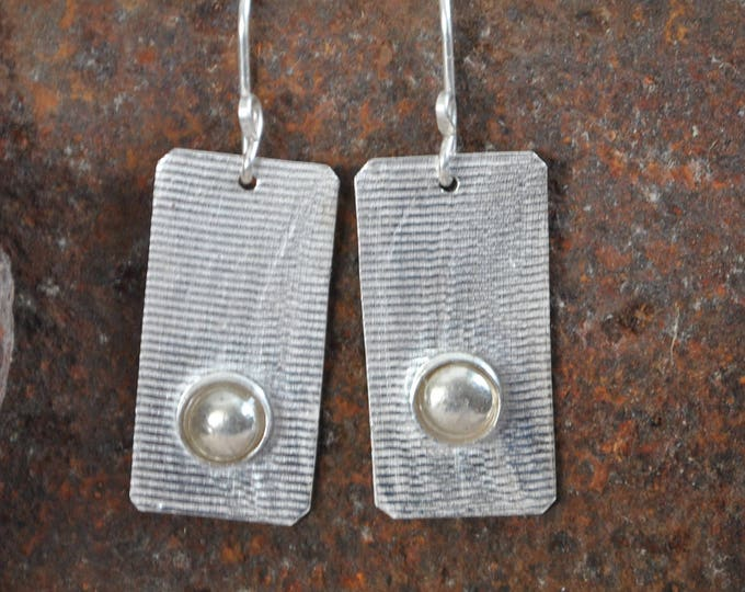 Sterling silver dangling earrings, textured metal earrings, artisan earrings