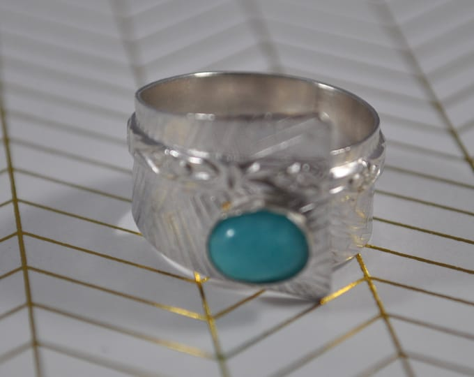 Sterling silver and teal Amazonite adjustable ring, textured metal, boho, wide band, leaf design, sterling jewelry, handcrafted
