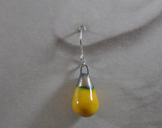 Yellow ceramic earrings, vibrant, handcrafted jewelry, Boho