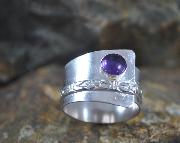 Sterling silver and purple Amethyst adjustable ring, textured metal, boho, wide band, leaf design, sterling jewelry, handcrafted