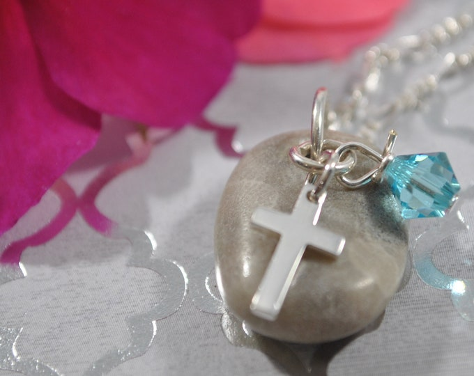 Petoskey Stone necklace with sterling cross charm and blue crystal, Michigan necklace, Up North