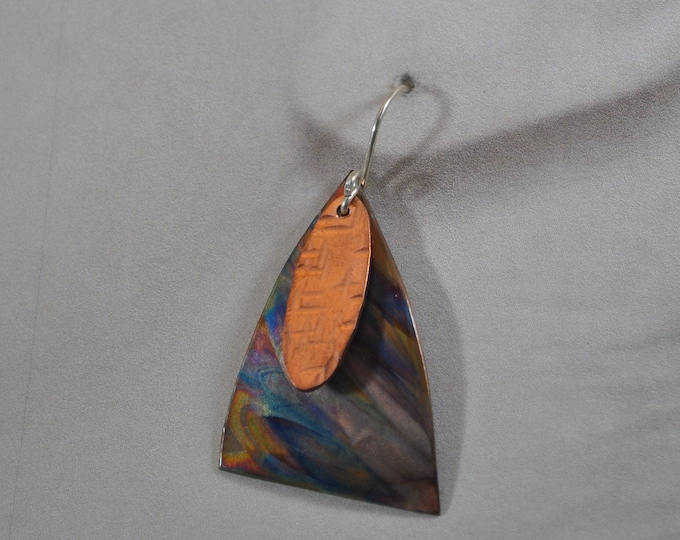 Flame Painted Copper earrings, colorful, OOAK, gift, unique jewelry