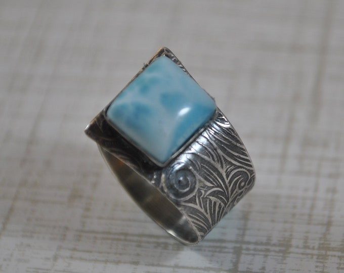 Sterling silver and Larimar adjustable ring, textured metal, boho, wide band, floral design, sterling jewelry, handcrafted