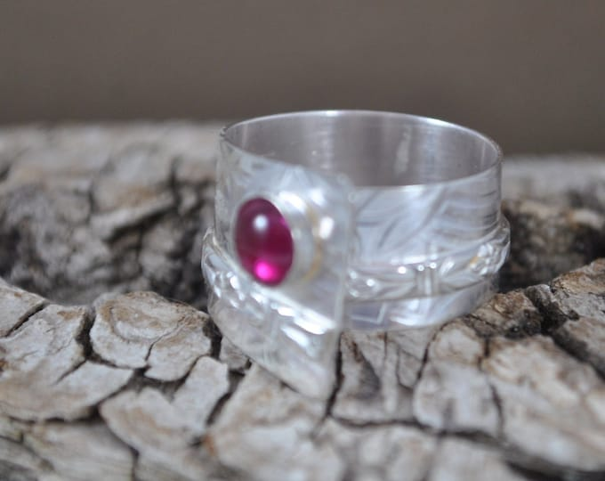 Sterling silver and Ruby adjustable ring, textured metal, boho, wide band, leaf design, sterling jewelry, handcrafted