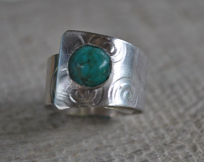 Sterling silver and turquoise adjustable ring, textured metal, boho, wide band, swirl design, sterling jewelry, handcrafted