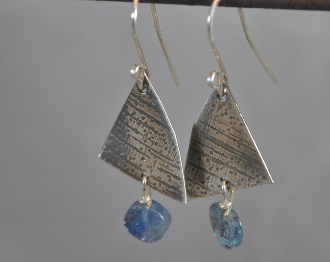 Sterling silver and blue Kyanite stone earrings, textured metal earrings, artisan earrings