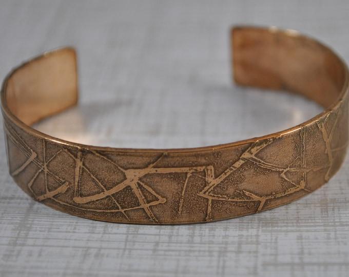 Bronze cuff,  electro-etched bracelet, metal work, boho, unisex
