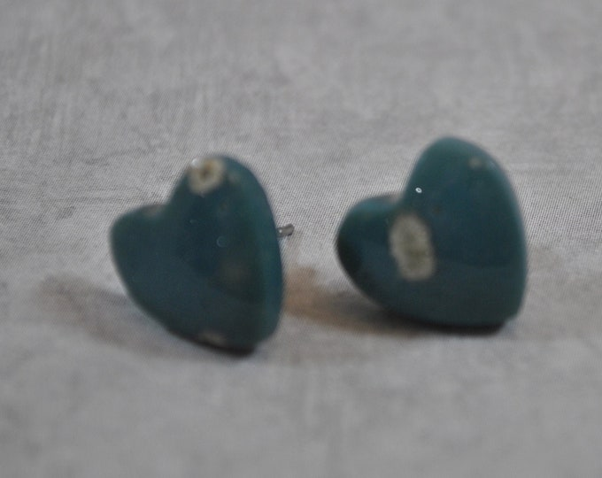 Lake Michigan Leland Blue stone heart stud earrings, Up North earrings, Lake Michigan earrings