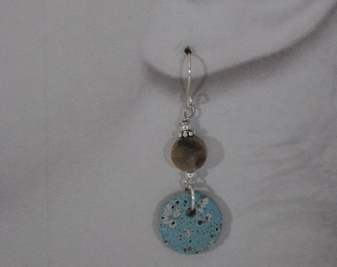 Leland Blue stone and Petoskey stone earrings with sterling silver beads, Up North earrings, Lake Michigan earrings