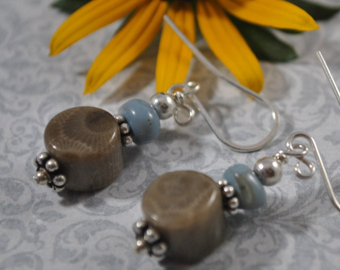 Lake Michigan Petoskey stone and Leland blue stone earrings, Up North Michigan, Lake Michigan