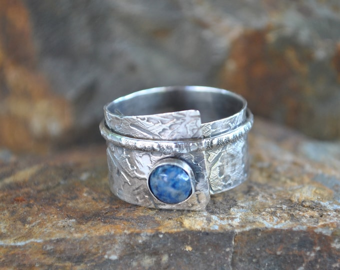 Sterling silver and lapis adjustable ring, textured metal, boho, wide band, vine design, sterling jewelry, handcrafted
