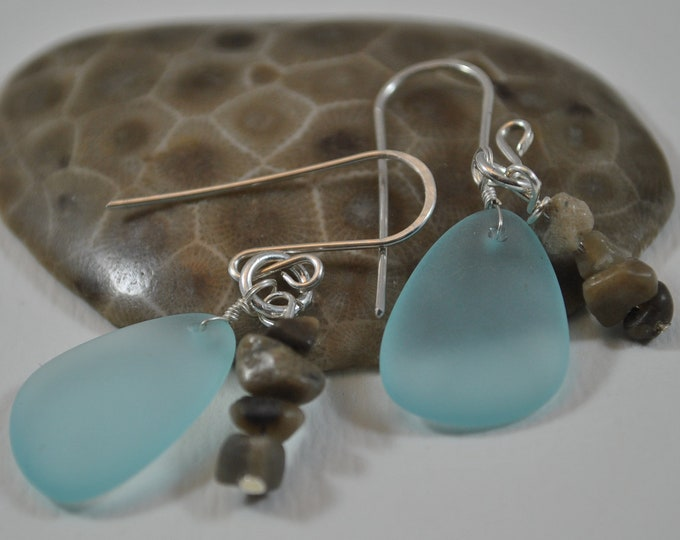 Petoskey stone nugget and blue beach glass earrings, Up North Michigan, Lake Michigan