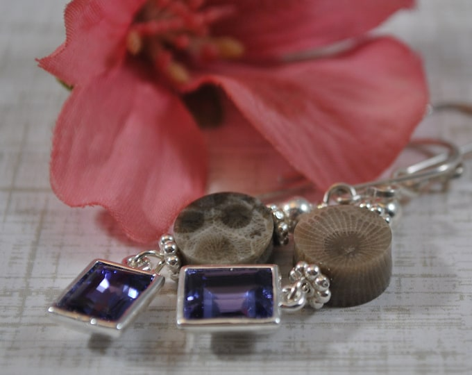 Petoskey stone earrings, Up North Michigan, Lake Michigan, sterling earrings, crystals