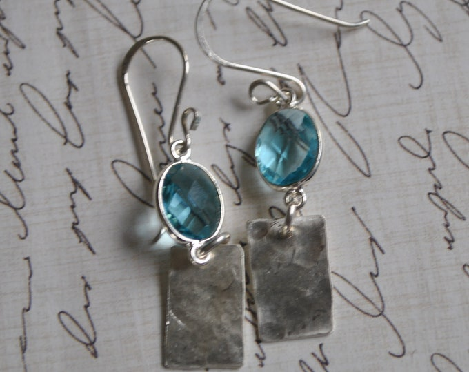 Sterling silver dangling earrings, textured metal earrings, aqua blue, artisan earrings